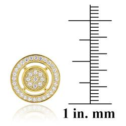 Icz Stonez 18k Gold over Silver Micro Pave Cubic Zirconia Circle Earrings - Thumbnail 2