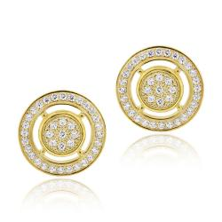 Icz Stonez 18k Gold over Silver Micro Pave Cubic Zirconia Circle Earrings