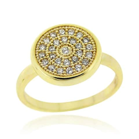 Icz Stonez 18k Gold over Sterling Silver Micro Pave Cubic Zirconia Circle Ring