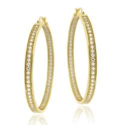 Icz Stonez 18k Gold over Sterling Silver Micro Pave Cubic Zirconia Hoop Earrings
