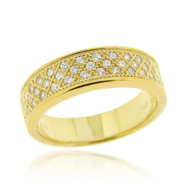 Icz Stonez 18k Gold over Sterling Silver Micro Pave Cubic Zirconia Eternity Band