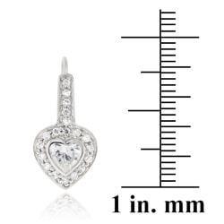 Icz Stonez Sterling Silver Cubic Zirconia Heart Leverback Earrings - Thumbnail 2