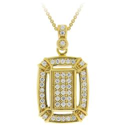 Icz Stonez 18k Gold over Silver Micro Pave Cubic Zirconia Rectangular Necklace