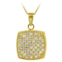Icz Stonez 18k Gold over Silver Micro Pave Cubic Zirconia Square Necklace