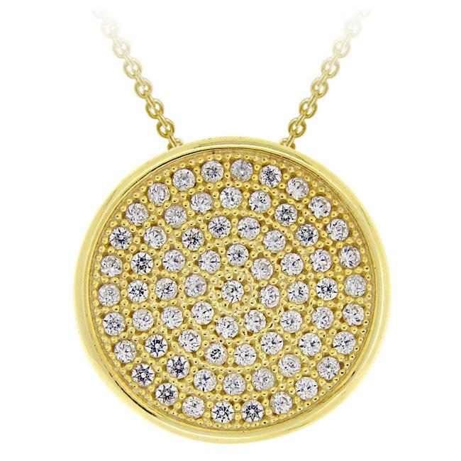Icz Stonez 18k Gold over Sterling Silver Micro Pave Cubic Zirconia Circle Necklace