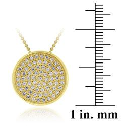Icz Stonez 18k Gold over Sterling Silver Micro Pave Cubic Zirconia Circle Necklace - Thumbnail 2