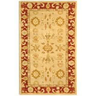 Safavieh Handmade Anatolia Oriental Mashhad Ivory/ Red Hand-spun Wool Rug (3' x 5')