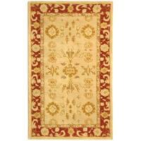 Safavieh Handmade Anatolia Oriental Mashhad Ivory/ Red Hand-spun Wool Rug - 3' x 5'