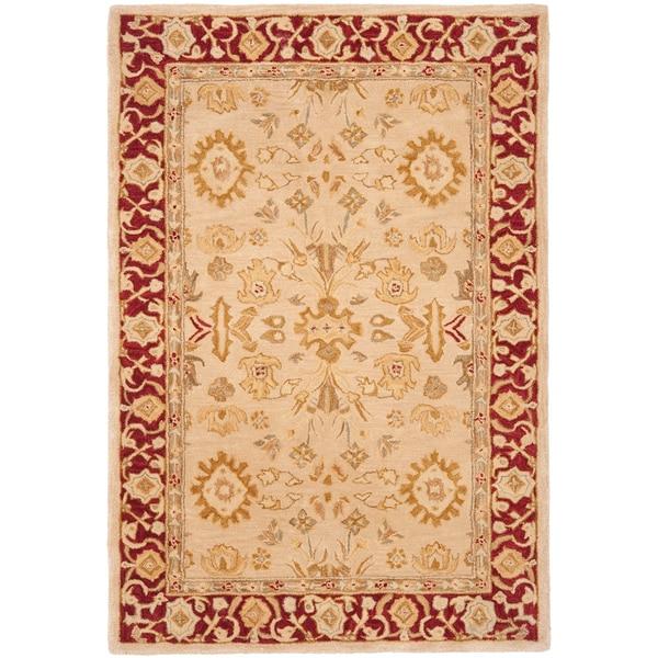 Safavieh Handmade Anatolia Oriental Mashhad Ivory/ Red Hand-spun Wool Rug (4' x 6')