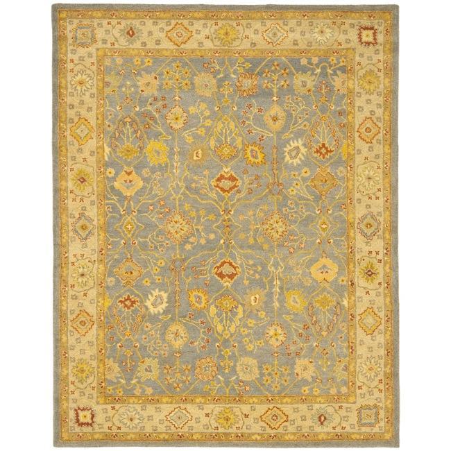 Safavieh Handmade Oushak Slate Blue/ Ivory Wool Rug - 9'6 x 13'6