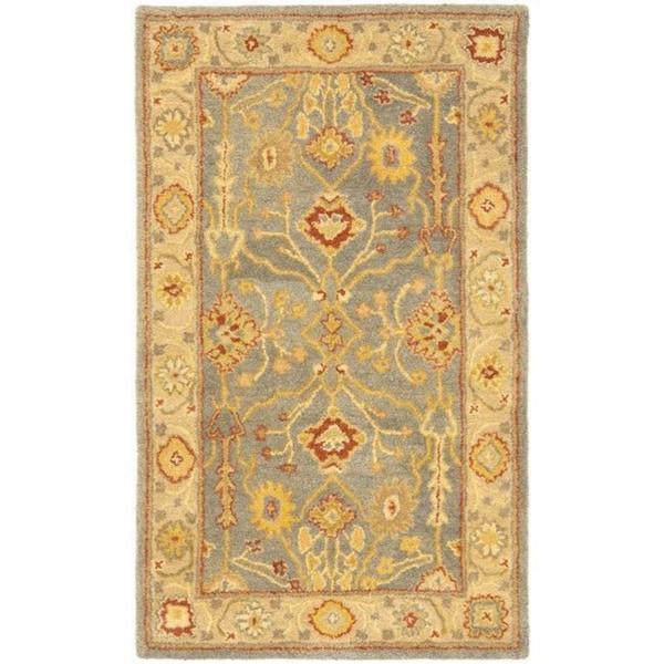 Safavieh Handmade Oushak Slate Blue/ Ivory Wool Rug (3' x 5')