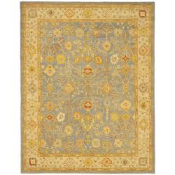 Safavieh Handmade Oushak Slate Blue/ Ivory Wool Rug (7'6 x 9'6)