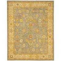 Safavieh Handmade Oushak Slate Blue/ Ivory Wool Rug - 7'6 x 9'6