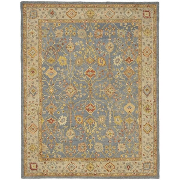 "Safavieh Handmade Oushak Slate Blue/ Ivory Wool Rug - 8'3"" x 11'"