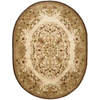 Safavieh Handmade Heritage Timeless Traditional Beige Oval Wool Rug (4'6 x 6'6)