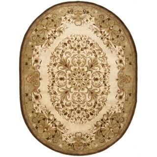 Safavieh Handmade Heritage Timeless Traditional Beige Wool Rug (7'6 x 9'6 Oval)