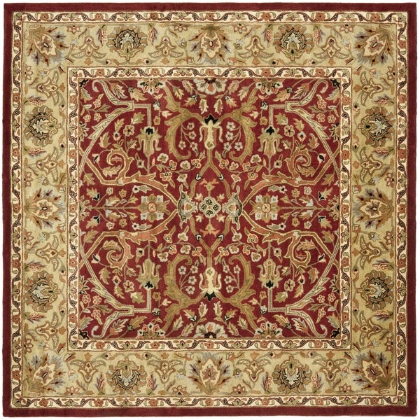 Safavieh Handmade Heritage Timeless Traditional Red/ Gold Wool Area Rug (6' Square)