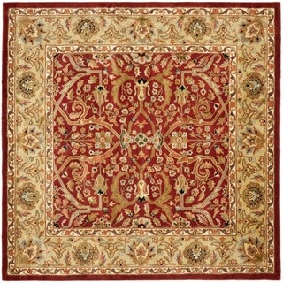 Safavieh Handmade Heritage Timeless Traditional Red/ Gold Wool Rug (8' Square)