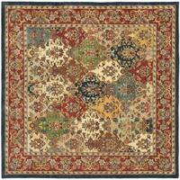 Safavieh Handmade Heritage Timeless Traditional Multicolor/ Burgundy Wool Rug - 6' x 6' Square