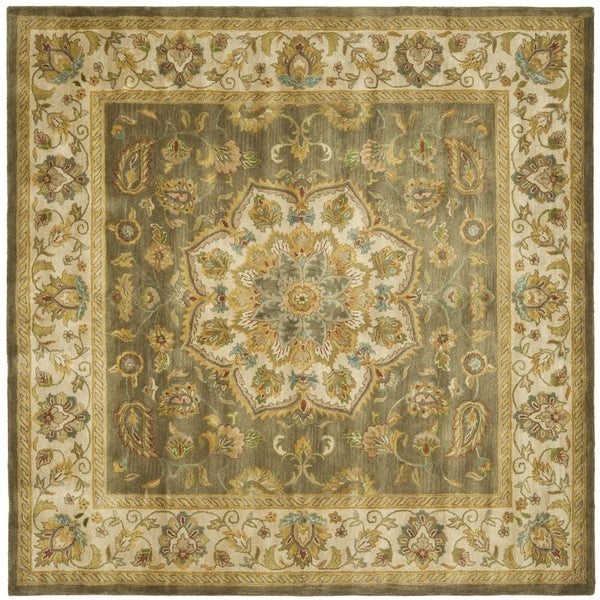 Safavieh Handmade Heritage Timeless Traditional Taupe/ Ivory Wool Rug (6' Square)