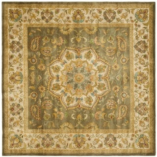 Safavieh Handmade Heritage Timeless Traditional Taupe/ Ivory Wool Rug (8' Square)