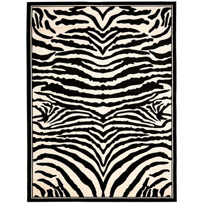Safavieh Lyndhurst Contemporary Zebra Black/ White Rug (4' x 6')