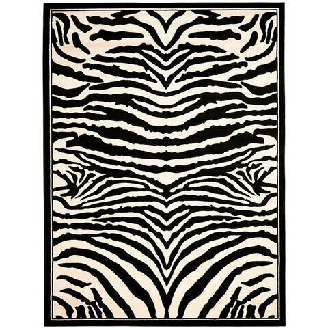 Safavieh Lyndhurst Contemporary Zebra Black/ Ivory Rug - 4' x 6'