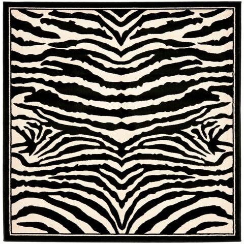 Safavieh Lyndhurst Contemporary Zebra Black/ Ivory Rug - 6' x 6' Square