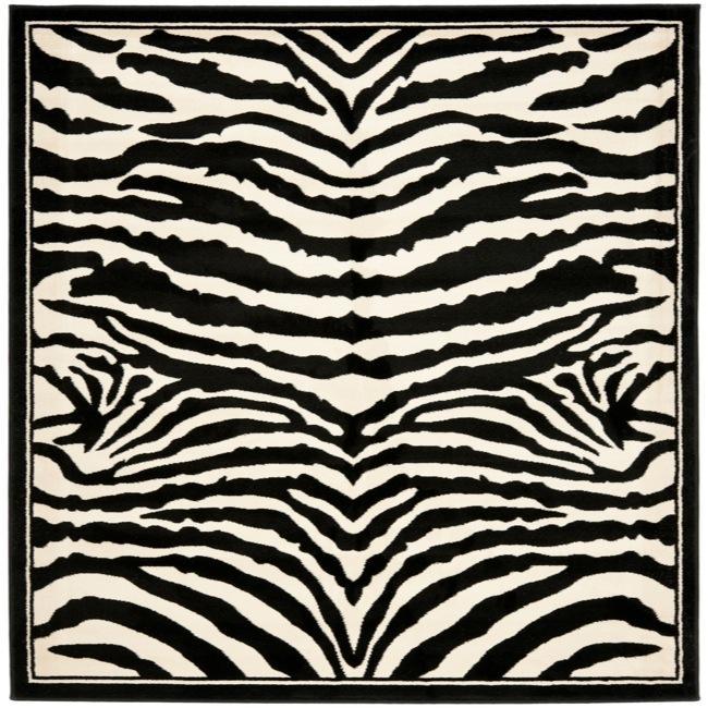 Safavieh Lyndhurst Contemporary Zebra Black/ White Rug (8' Square)