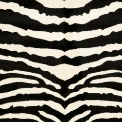 Safavieh Lyndhurst Contemporary Zebra Black/ White Rug (8' Square) - Thumbnail 1