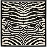 Safavieh Lyndhurst Contemporary Zebra Black/ White Rug (8' Square) - 8' x 8'