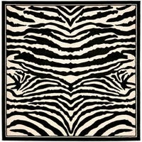 Safavieh Lyndhurst Contemporary Zebra Black/ Ivory Rug - 8' x 8' Square