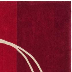 Safavieh Handmade Rodeo Drive Modern Abstract Red/ Ivory Wool Rug (8' Square)