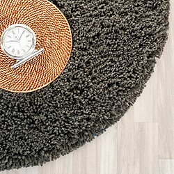 Safavieh Classic Plush Handmade Super Dense Charcoal Shag Rug (4' Round)