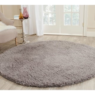 safavieh classic ultra handmade grey shag rug 4u0027 round - Grey Shag Rug