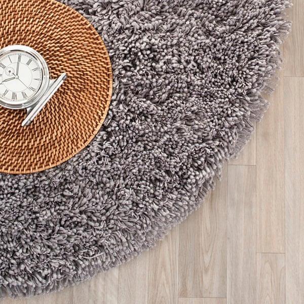 Safavieh Classic Ultra Handmade Grey Shag Rug (4' Round)
