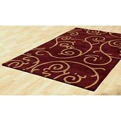 Hand-tufted Burgundy Wool Rug (8' x 11') - Thumbnail 1