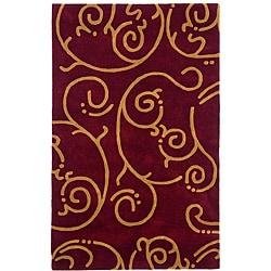 Hand-tufted Burgundy Wool Rug - 8' x 11' - Thumbnail 0