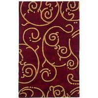 Hand-tufted Burgundy Wool Rug - 8' x 11'