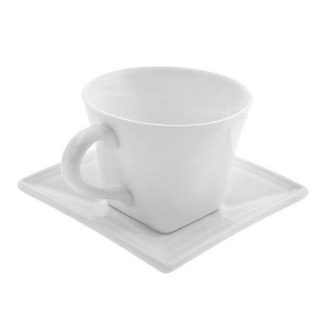 10 Strawberry Street Whittier White 8-oz Flared Cup and Saucers (Set of 4)