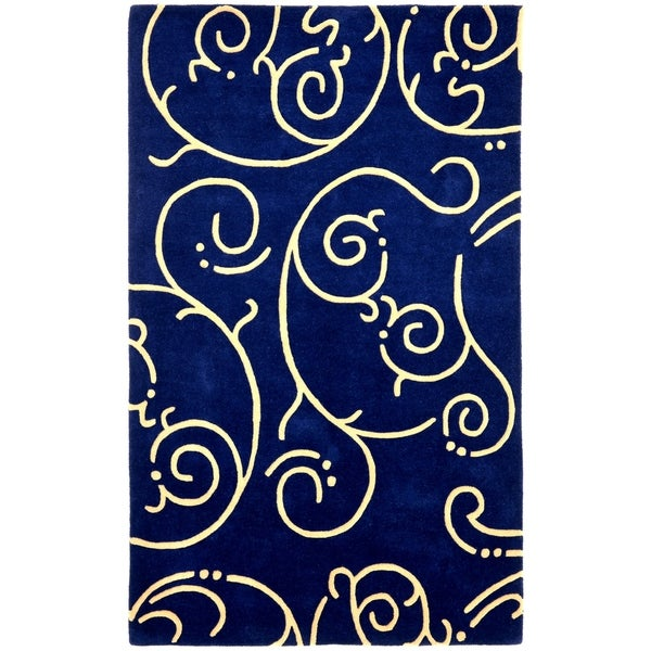Hand-tufted Blue Abstract Wool Rug (8' x 11') - 8' x 11'