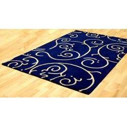 Hand-tufted Blue Abstract Wool Rug (8' x 11') - Thumbnail 1