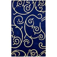 Hand-tufted Blue Abstract Wool Rug (8' x 11')