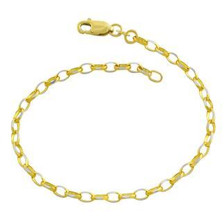 Fremada 14k Two-tone Gold Diamond-cut Cable Link Bracelet