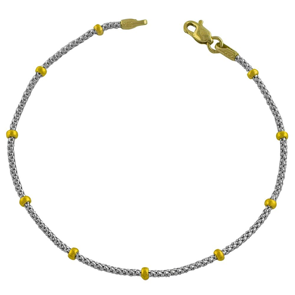 Fremada 14k Two-tone Gold Ball Station Popcorn Chain Bracelet