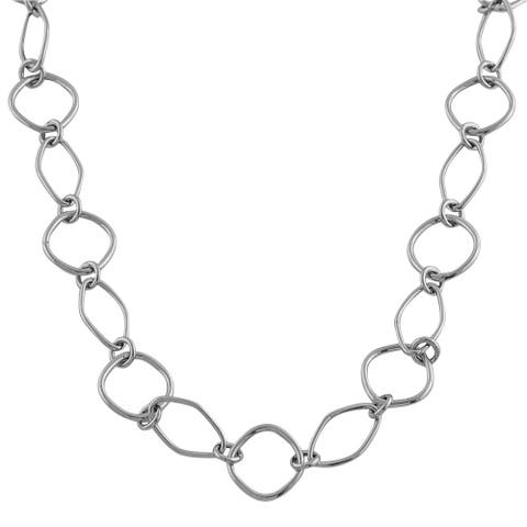 Fremada 14k White Gold Open Fancy Link Necklace
