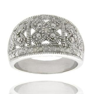 Finesque Sterling Silver 1/4ct TDW Diamond Filigree Ring