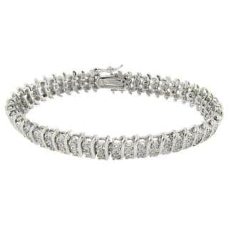 Finesque Sterling Silver 1 2 Ct Tdw Diamond 3 Row S