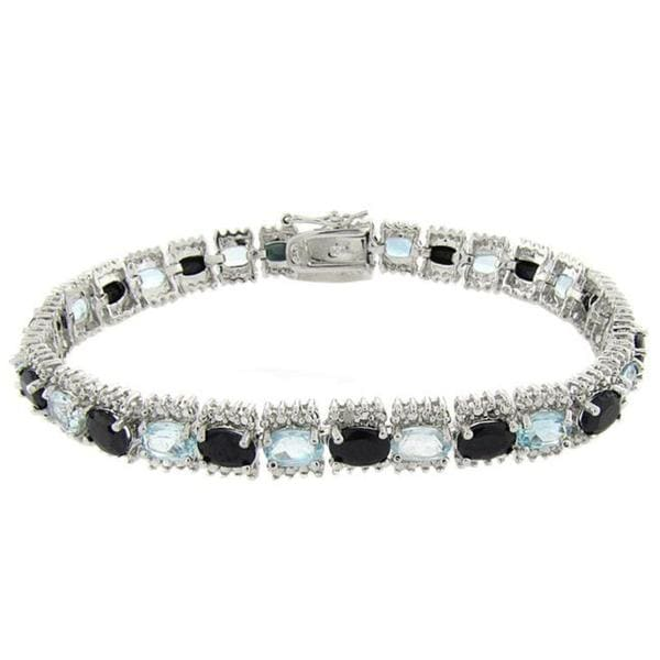 Dolce Giavonna Sterling Silver Sapphire, Blue Topaz, and Diamond Accent Line Bracelet