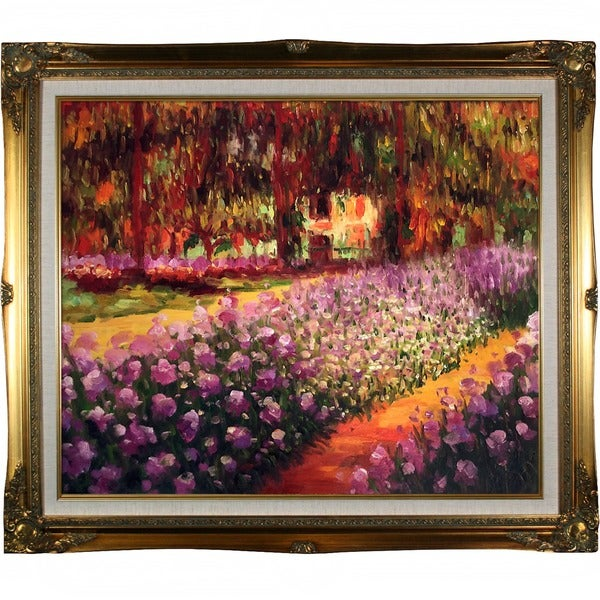 Monet 'Artist's Garden at Giverny' Hand Painted Framed Canvas Art